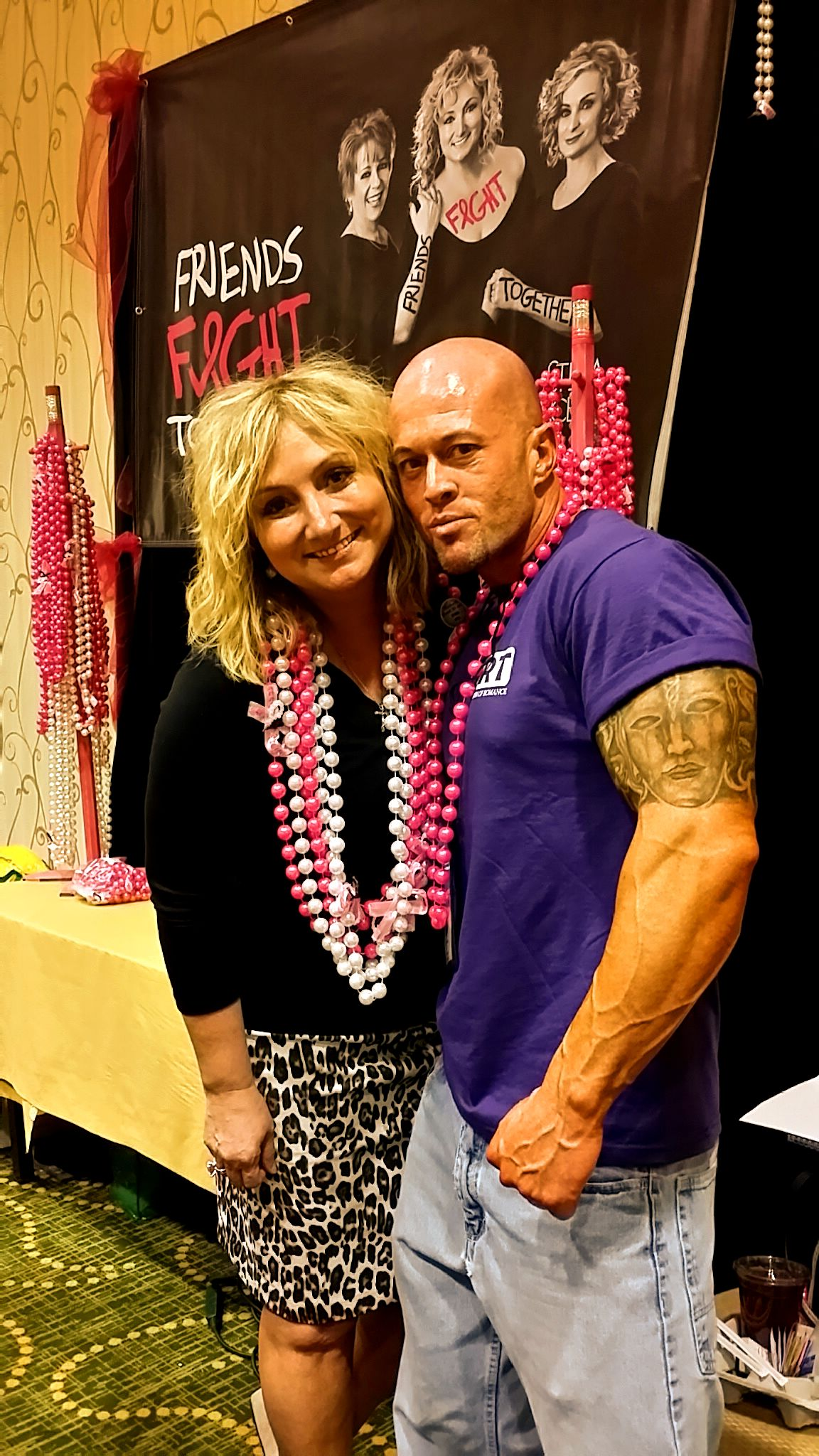John Quinlan with Tina DeSalvo at her 'Friends Fight Together' Breast Cancer Awareness Campaign in New Orleans.