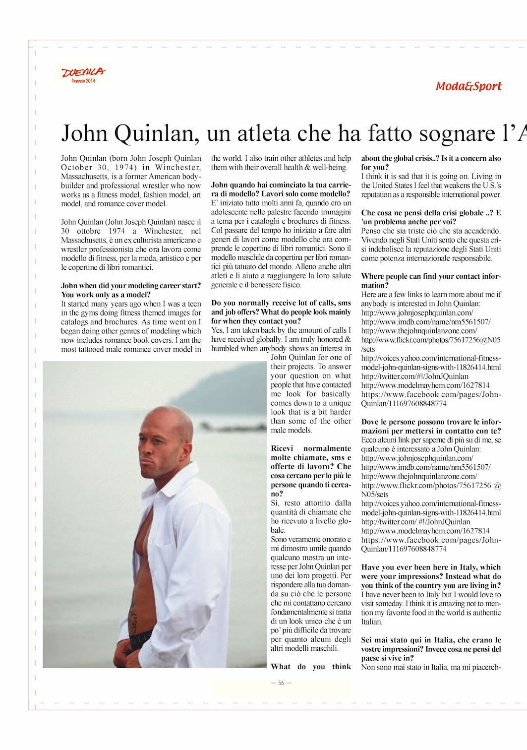Tattooed Sports & Fashion Model John Quinlan Duemila Magazine