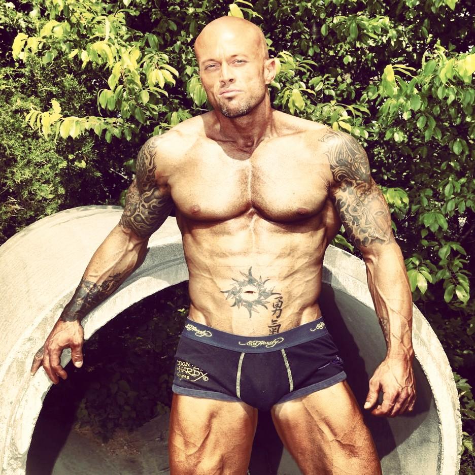 Tattooed Male Model John Quinlan in Ed Hardy