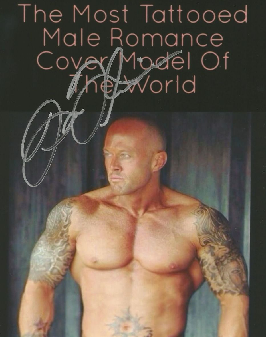 Most Tattooed Male Romance Cover Model in the World John Quinlan Signed 8x10