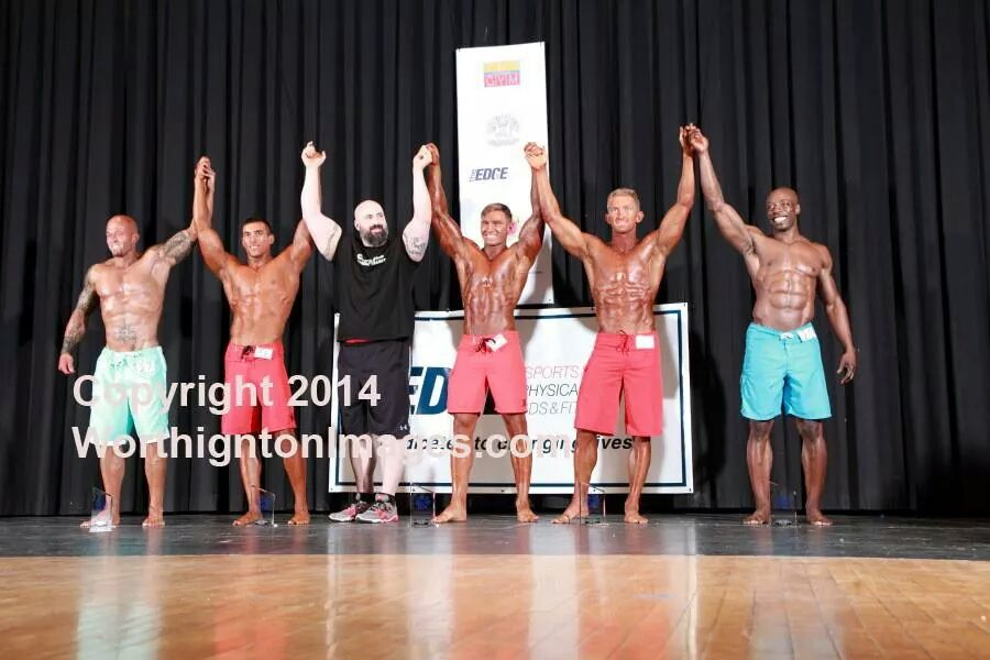 Tattooed Model John Quinlan (Far Left) 2nd Place 2014 NPC Vermont Men's Physique Masters & Open 4th Place