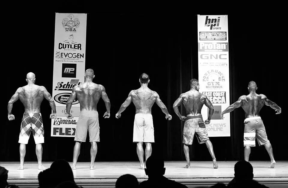 Tattooed Model John Quinlan (far left) 2014 NPC Jay Cutler Classic Men's Physique