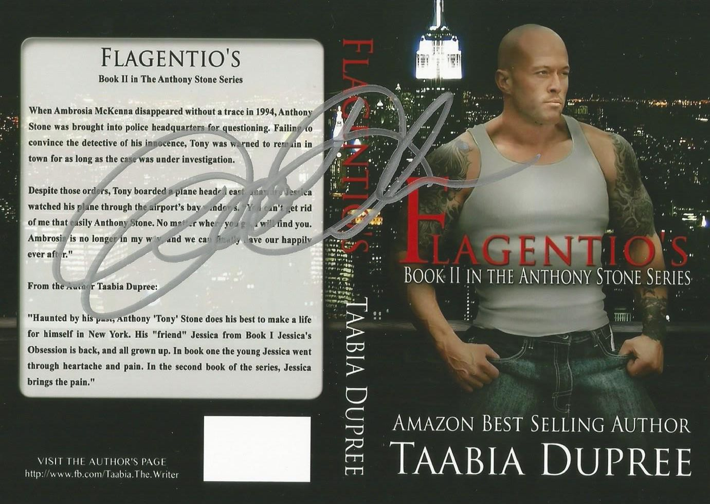 ☆Signed Memorabilia - 'The Most Tattooed Male Romance Cover Model in The World 2014' John Joseph Quinlan Autographed Flagentio's Paperback Book Promo by Author Taabia Dupree #JohnQuinlan