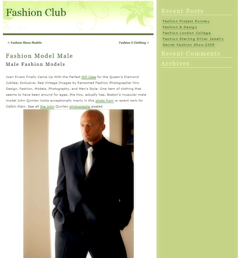 John Quinlan Featured Fashion Model in Calvin Klein @ Fashion Club