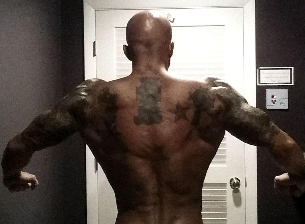 NPC Physique Model John Quinlan Back Shot Night Before 2014 New England's