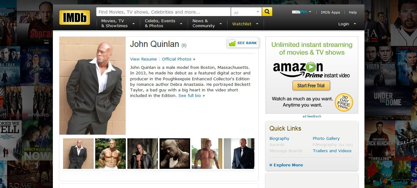 Tattooed Model & Actor John Joseph Quinlan IMDb Profile