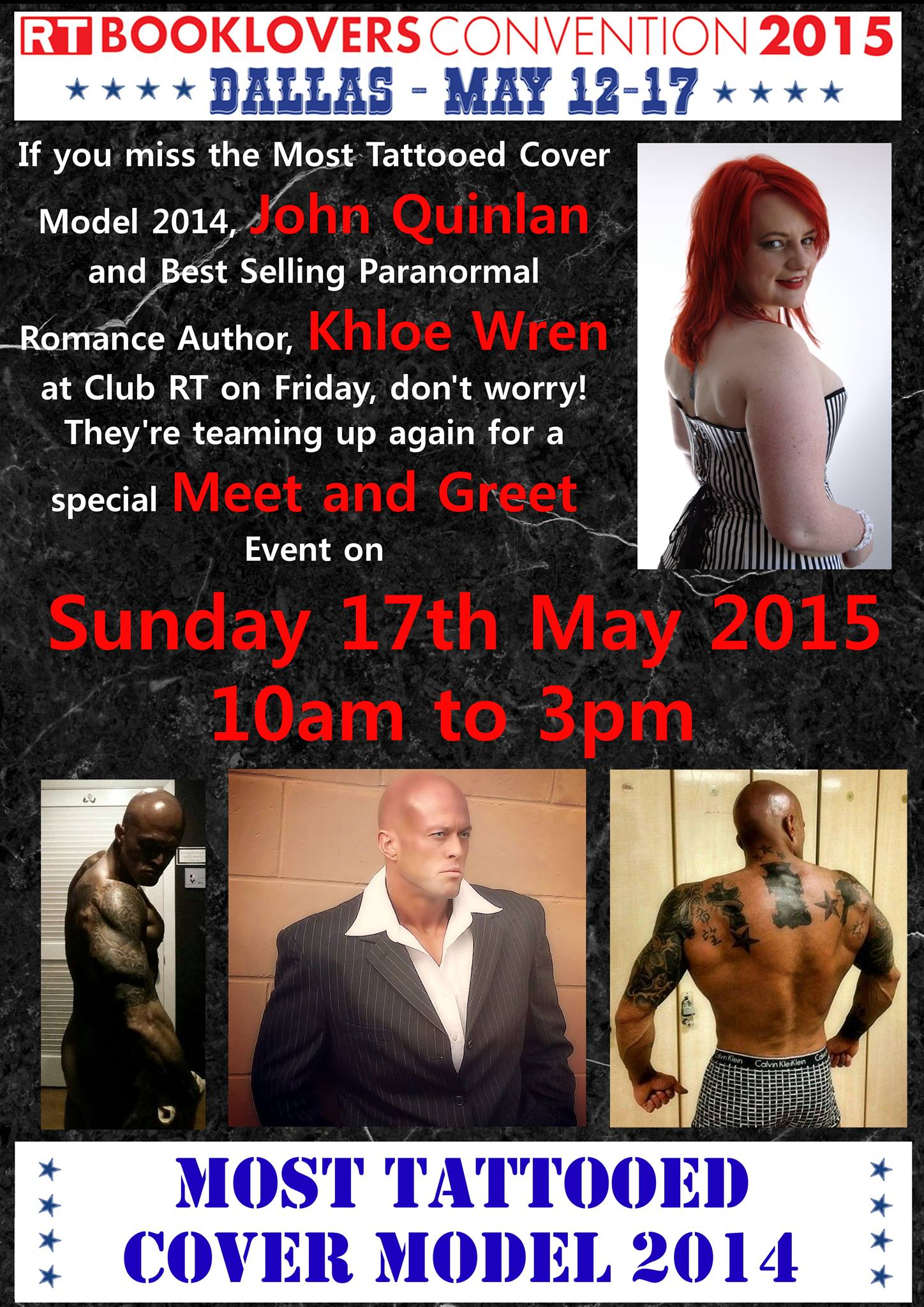 Most Tattooed Cover Model 2014 John Quinlan & Best Selling Paranormal Romance Author Khloe Wren Club RT Dallas, TX Meet and Greet on Sunday May 17, 2015 10am to 3pm #JohnQuinlan
