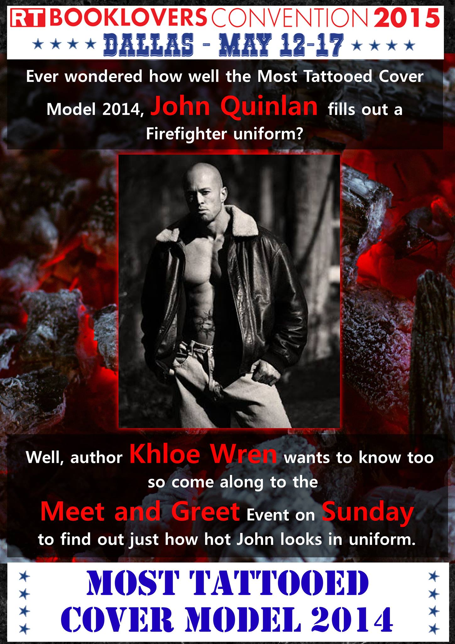 The Most Tattooed Male Romance Cover Model in the World 2014 John Joseph Quinlan Official Feature @ The World Famous 2015 RT Booklovers Convention Dallas, Texas 'Meet & Greet' with Author Khloe Wren on Sunday May 17th Noon- 5pm #JohnQuinlan