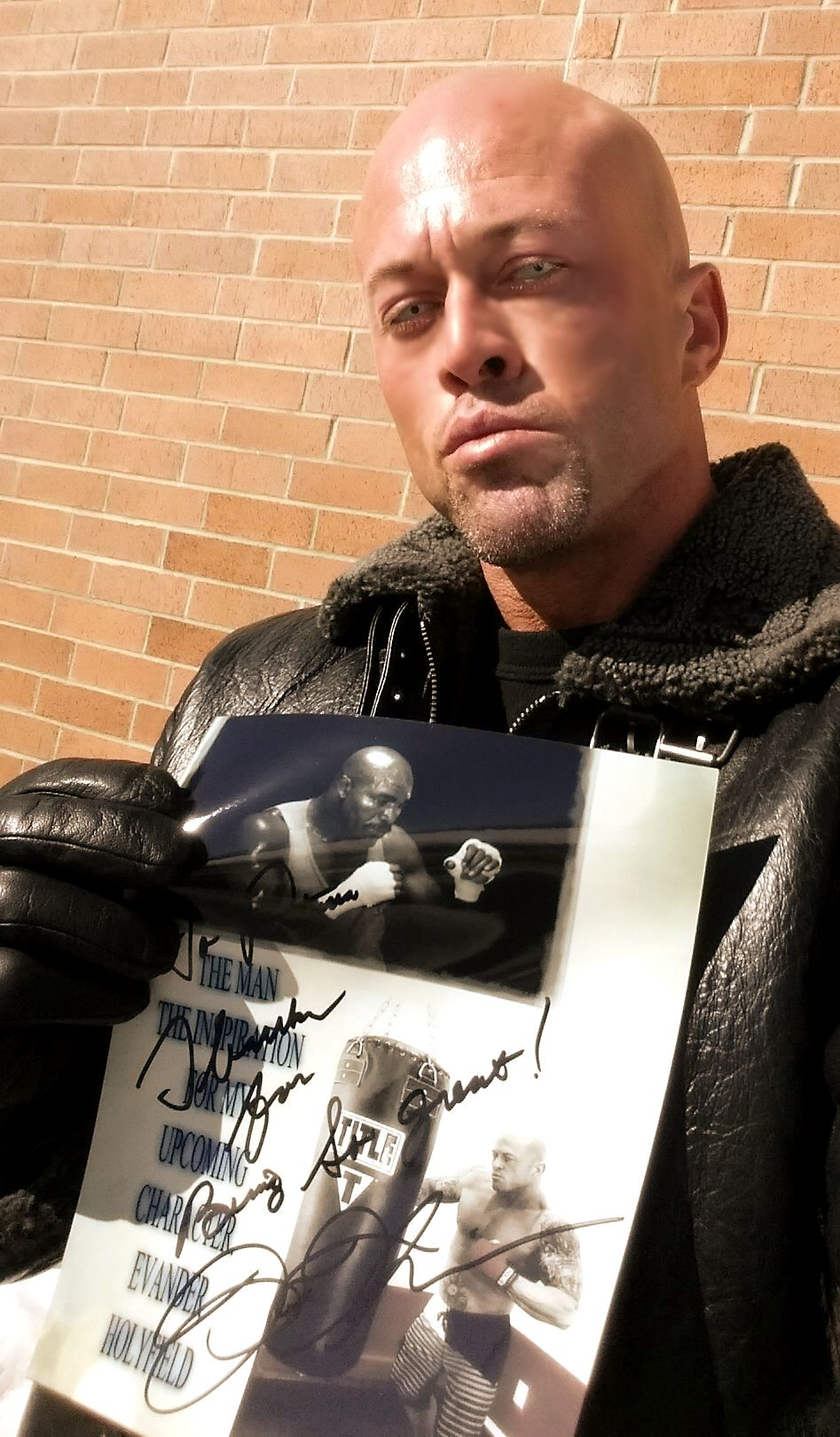 Boston Romance Physique Model Actor John Quinlan 2015 Pilot Film Character Inspiration Evander Holyfield Poster by Patricia Statham Autograph Signed 8x10. #JohnQuinlan