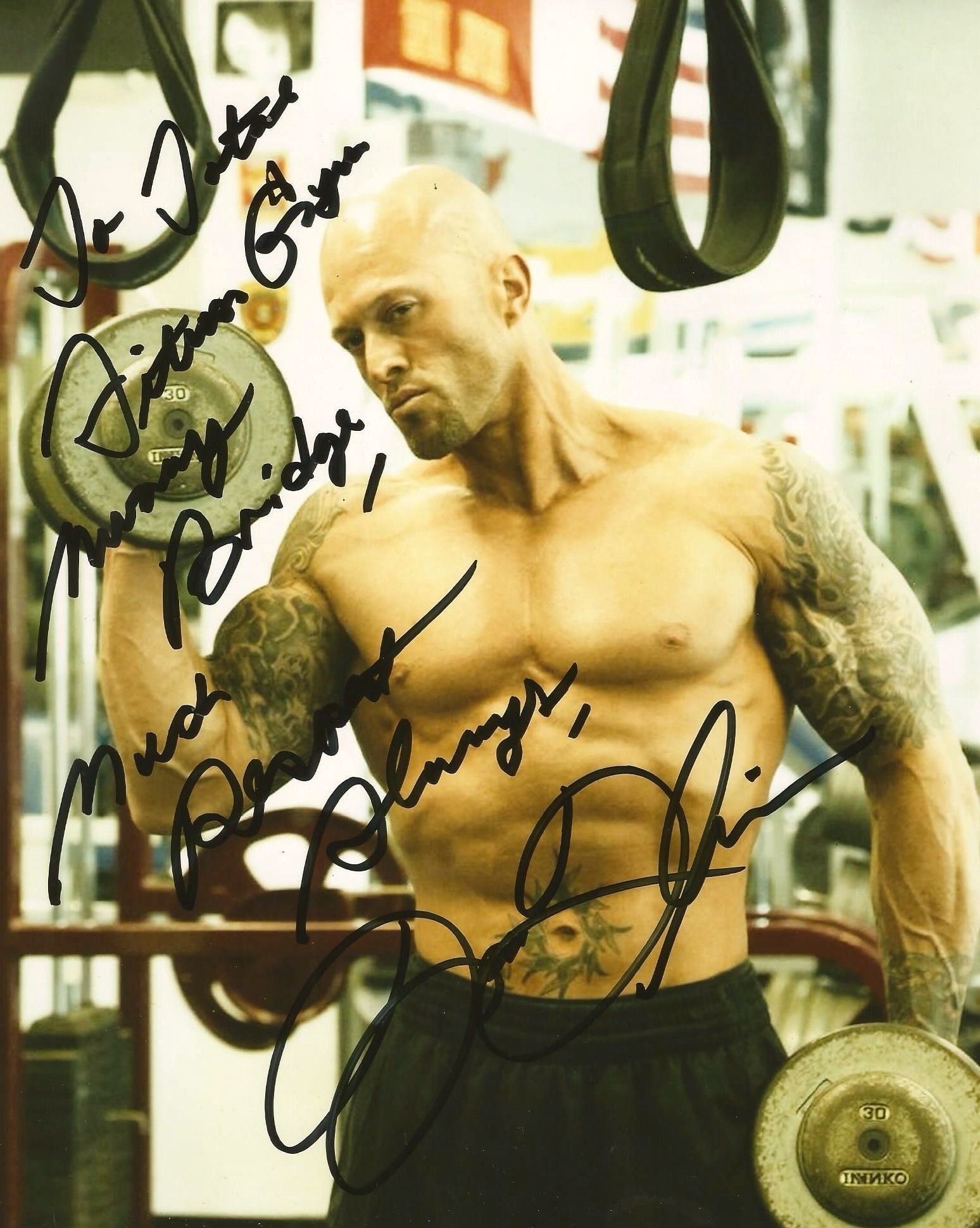 Tattooed Fitness Physique Model & Actor John Joseph Quinlan Signed 8x10 Autograph to Total Fitness Gym Murray Bridge Australia. #JohnQuinlan