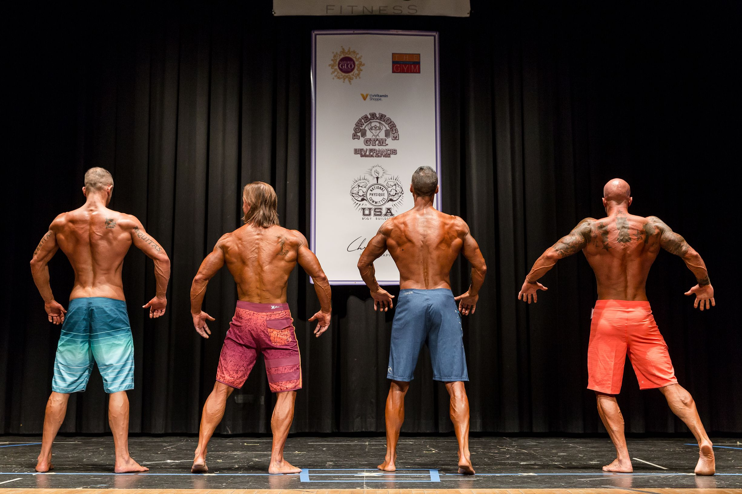 John Joseph Quinlan (far right) 2015 NPC Vermont Championships Men's Master Physique on Stage Photo by Chris Keeley #JohnQuinlan