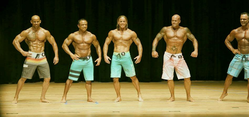 2015 NPC Jay Cutler Classic Men's Physique Competitor John Joseph Quinlan (2nd from right) @ Master 5th Place #JohnQuinlan