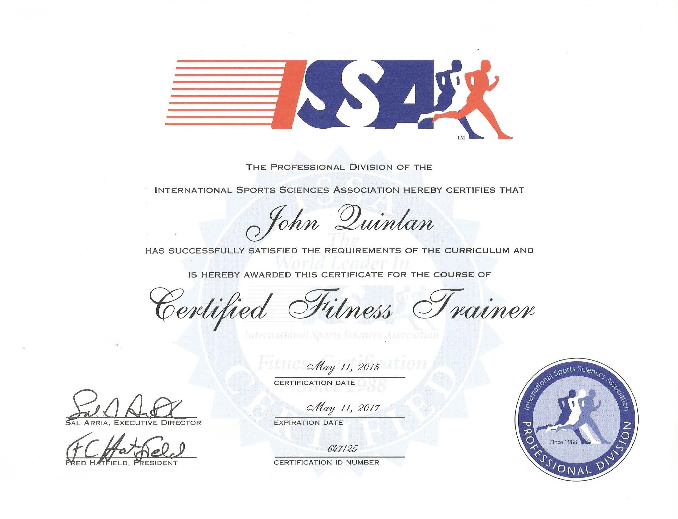 John Joseph Quinlan 2015 ISSA Official Certified Personal Trainer #JohnQuinlan