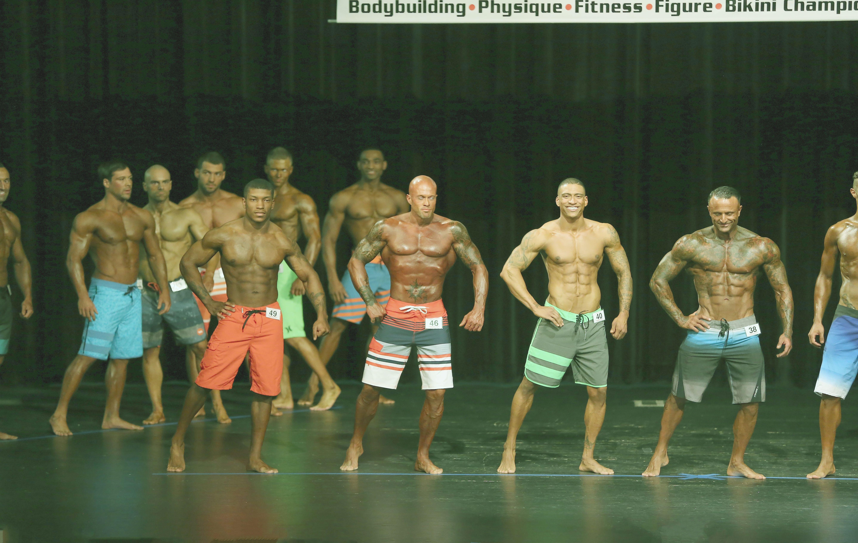 John Joseph Quinlan (2nd from left) 2015 NPC Montanari Bros Powerhouse Classic Open Men's Physique on Stage #JohnQuinlan