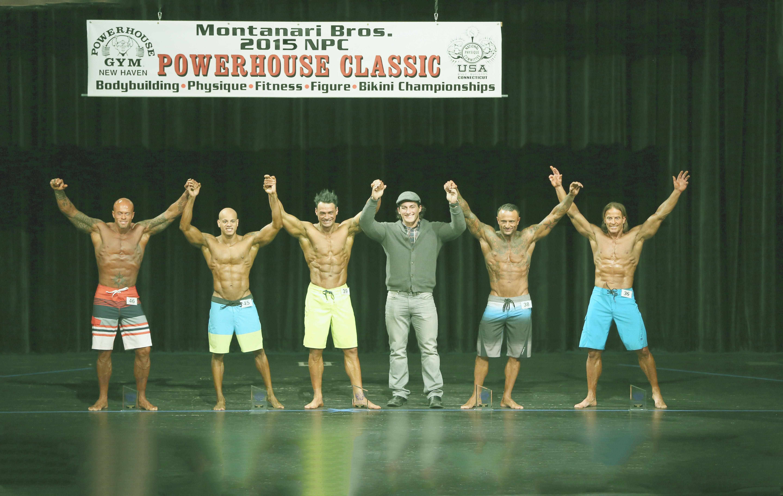 John Joseph Quinlan (far left) 2015 NPC Montanari Bros Powerhouse Classic Men's Physique on Stage with Sadik Hadzovic. Photo by Warren Gramman #JohnQuinlan