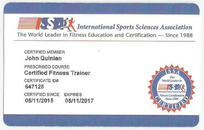 John Joseph Quinlan 2015 Official ISSA Certified Personal Trainer Card #JohnQuinlan