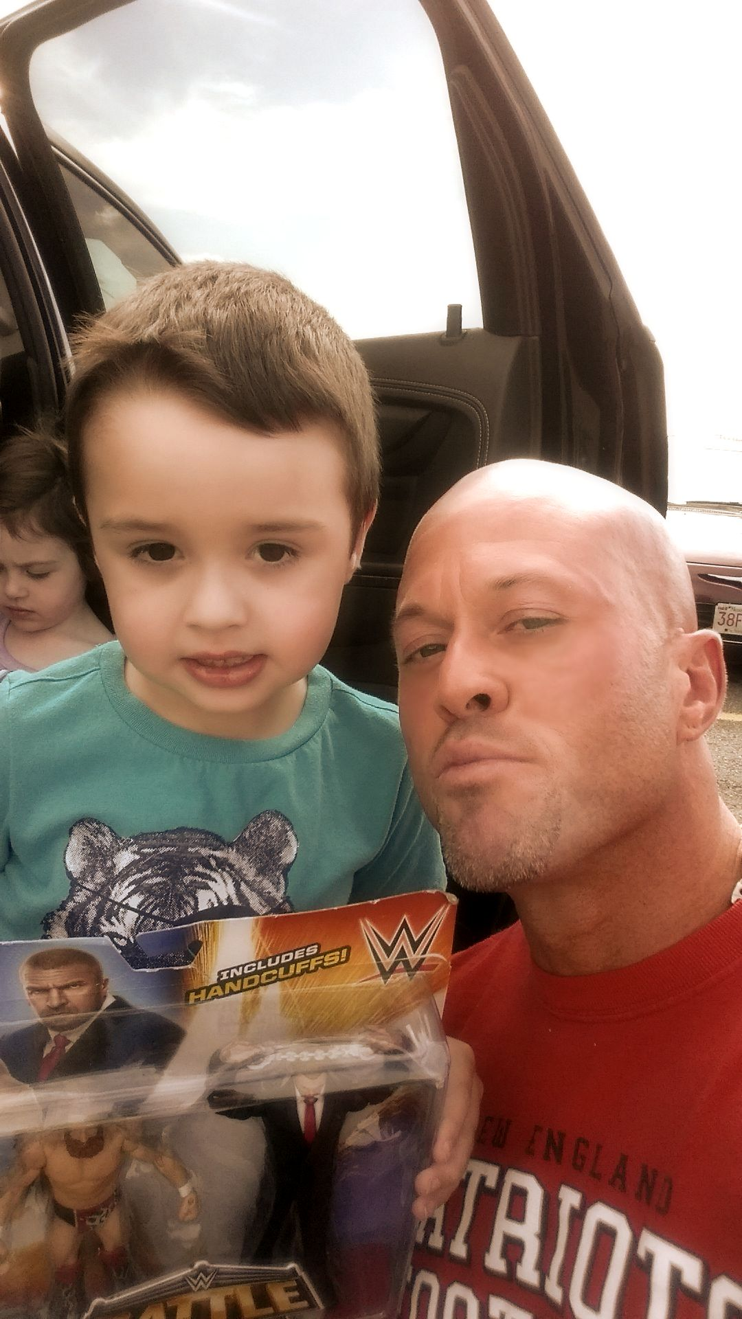 """With my son Cole on the week of his 6th birthday. Enjoy those WWE wrestling figures, love you little buddy."" - John Quinlan 8/22/2015 #JohnQuinlan"