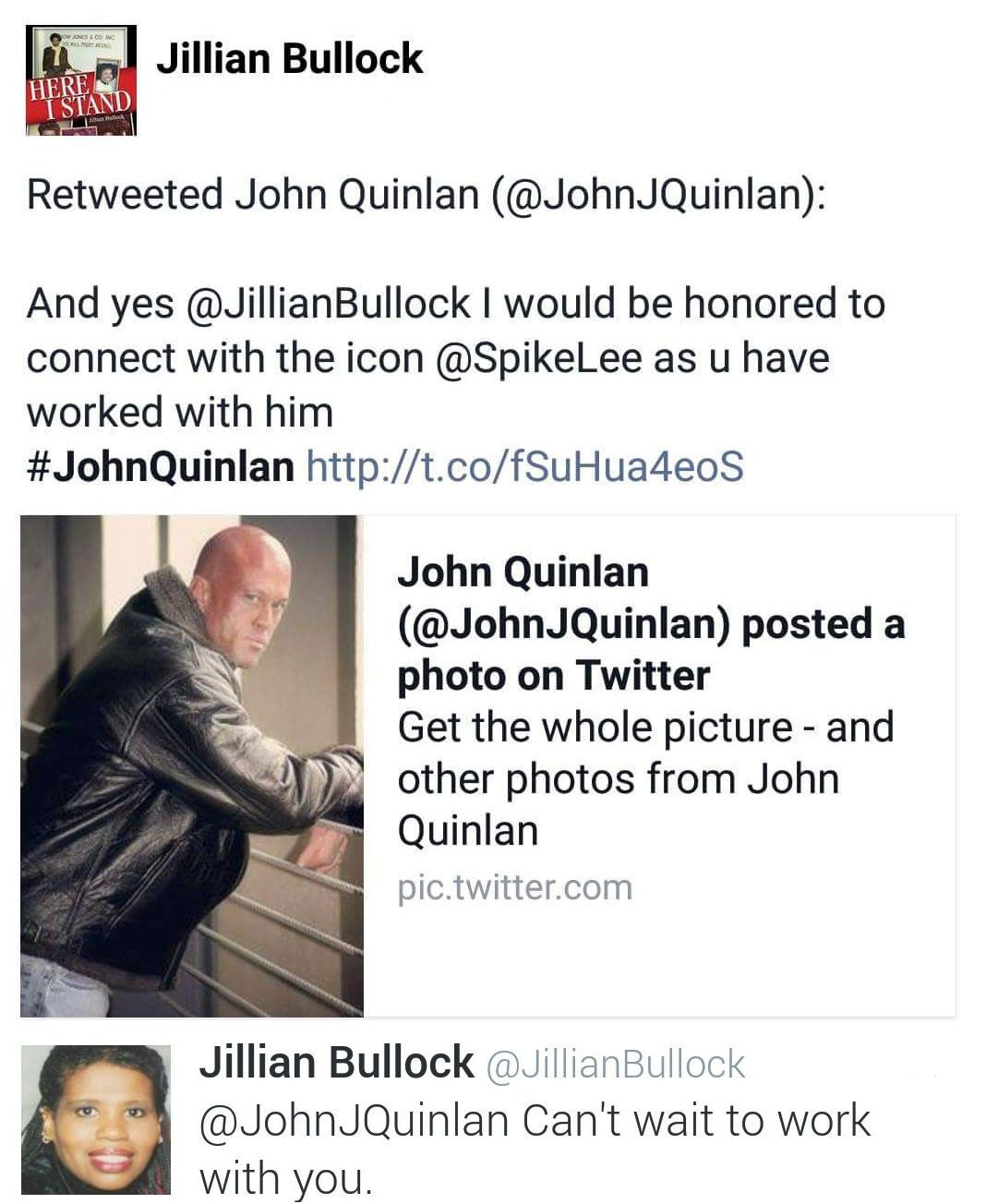 Producer Jillian Bullock & Model Actor John Joseph Quinlan 2016 Film Talk via Twitter #JohnQuinlan