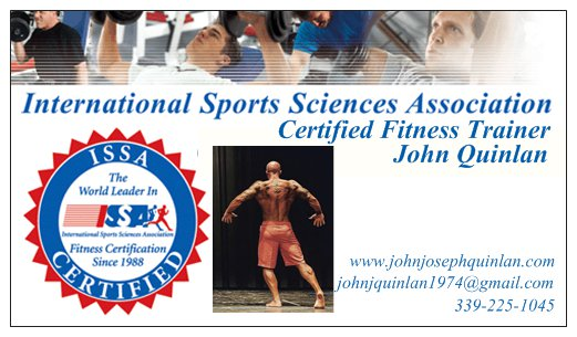 John Joseph Quinlan 2015 Official ISSA Certified Personal Trainer Business Card #JohnQuinlan