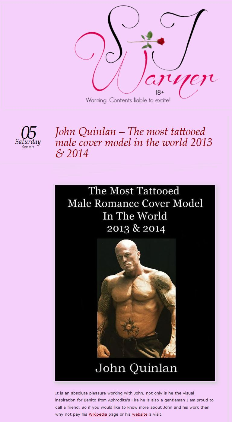 The Most Tattooed Male Romance Cover Model in the World 2013 & 2014 John Joseph Quinlan by SJ Warner #JohnQuinlan