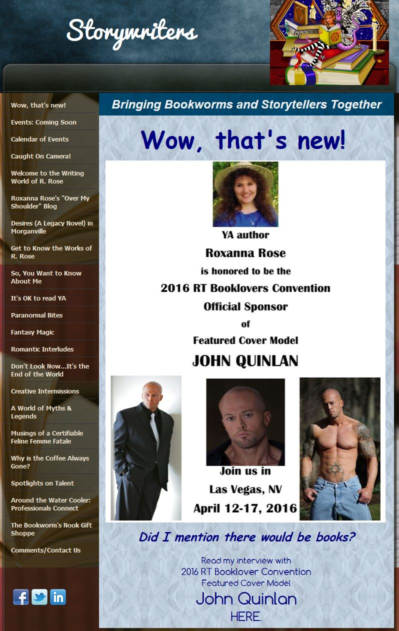 2016 RT Convention Las Vegas Featured Romance Cover Model John Joseph Quinlan Sponsored by Roxanna Rose #JohnQuinlan