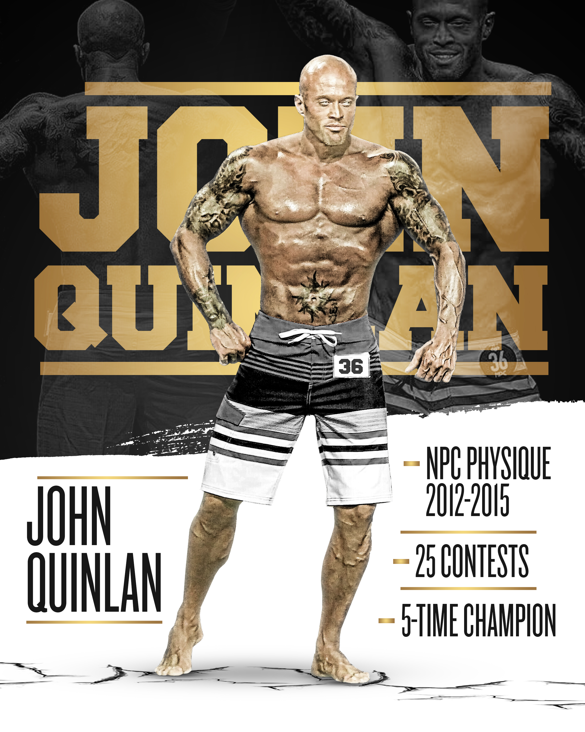 John Joseph Quinlan NPC Men's Physique Model Master commemorative Poster by Ross Maq #JohnQuinlan