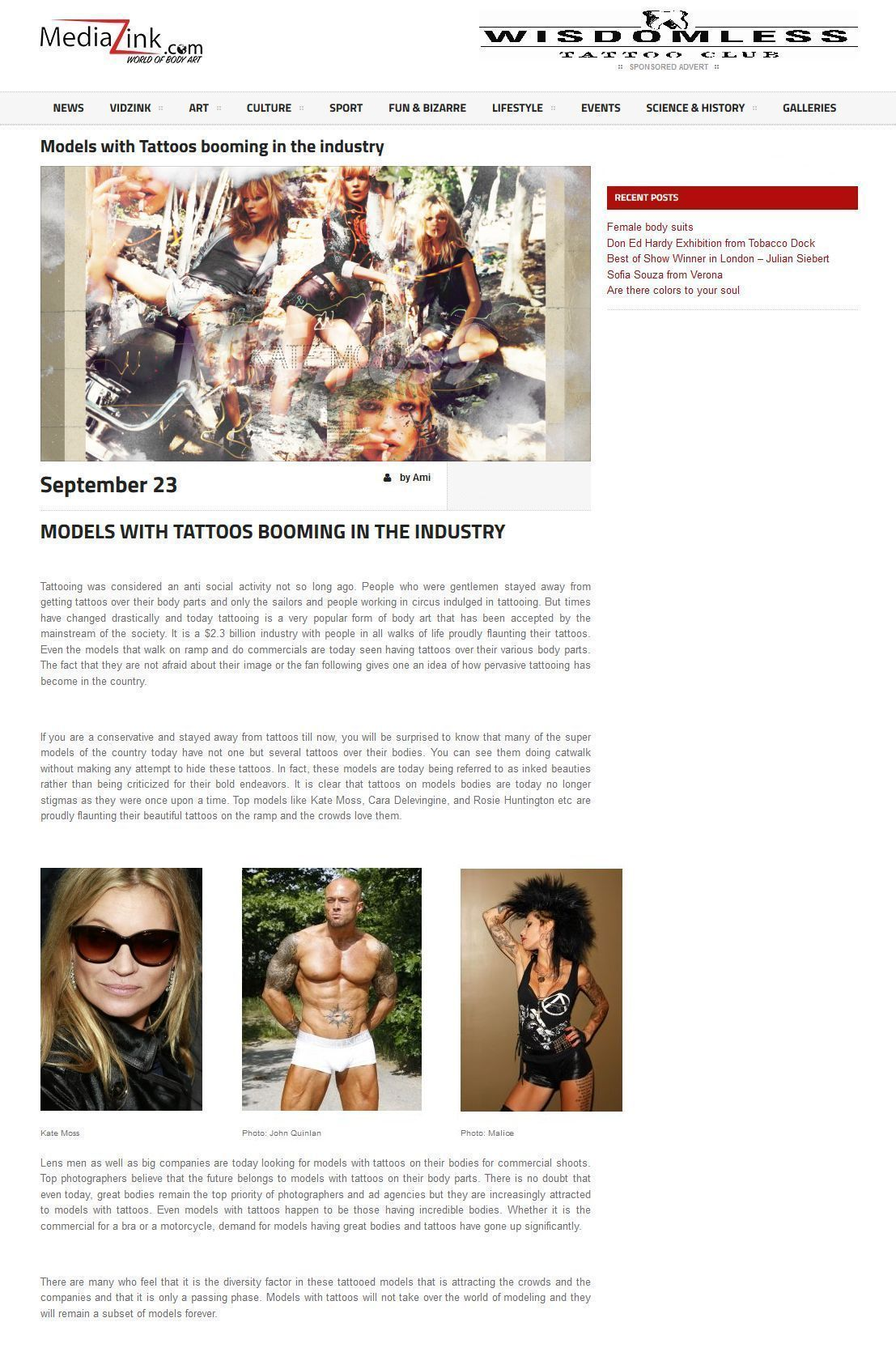 Tattoo Model Industry Feature @ Media Z Ink with Kate Moss John Joseph Quinlan & Malice McMunn Calvin Klein #JohnQuinlan #KateMoss #MaliceMcMunn