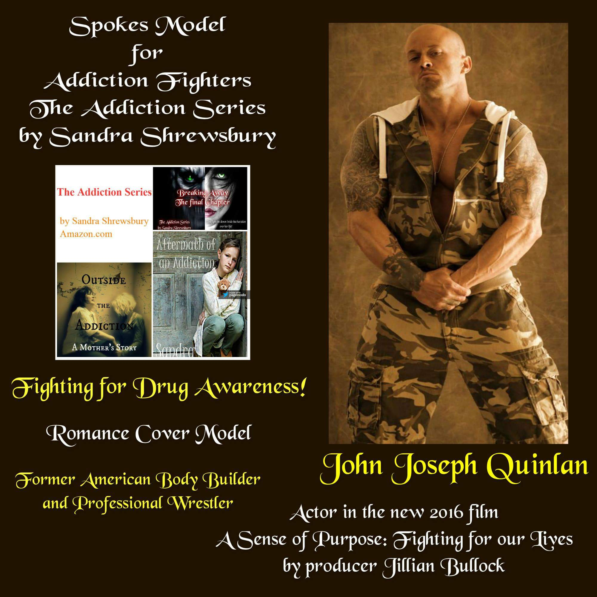 Addiction Series Celebrity Spokes Model John Joseph Quinlan Drugs Awareness Poster by Sandra Shrewsbury 2016 #JohnQuinlan