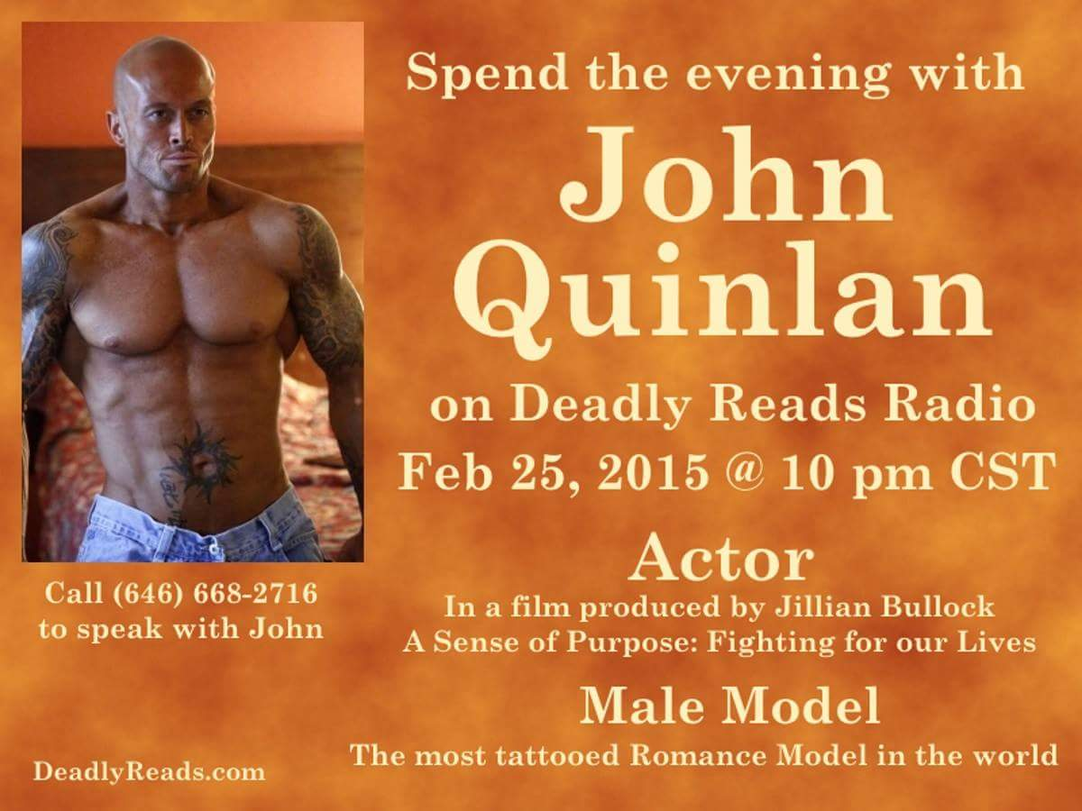 Deadly Reads Radio with Tattooed Romance Cover Physique Model Actor John Joseph Quinlan #JohnQuinlan