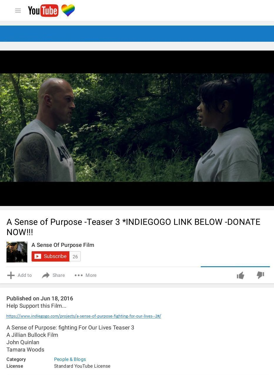 A Sense of Purpose Fighting For Our Lives Trailer John Joseph Quinlan & Tamara Woods. #JohnQuinlan