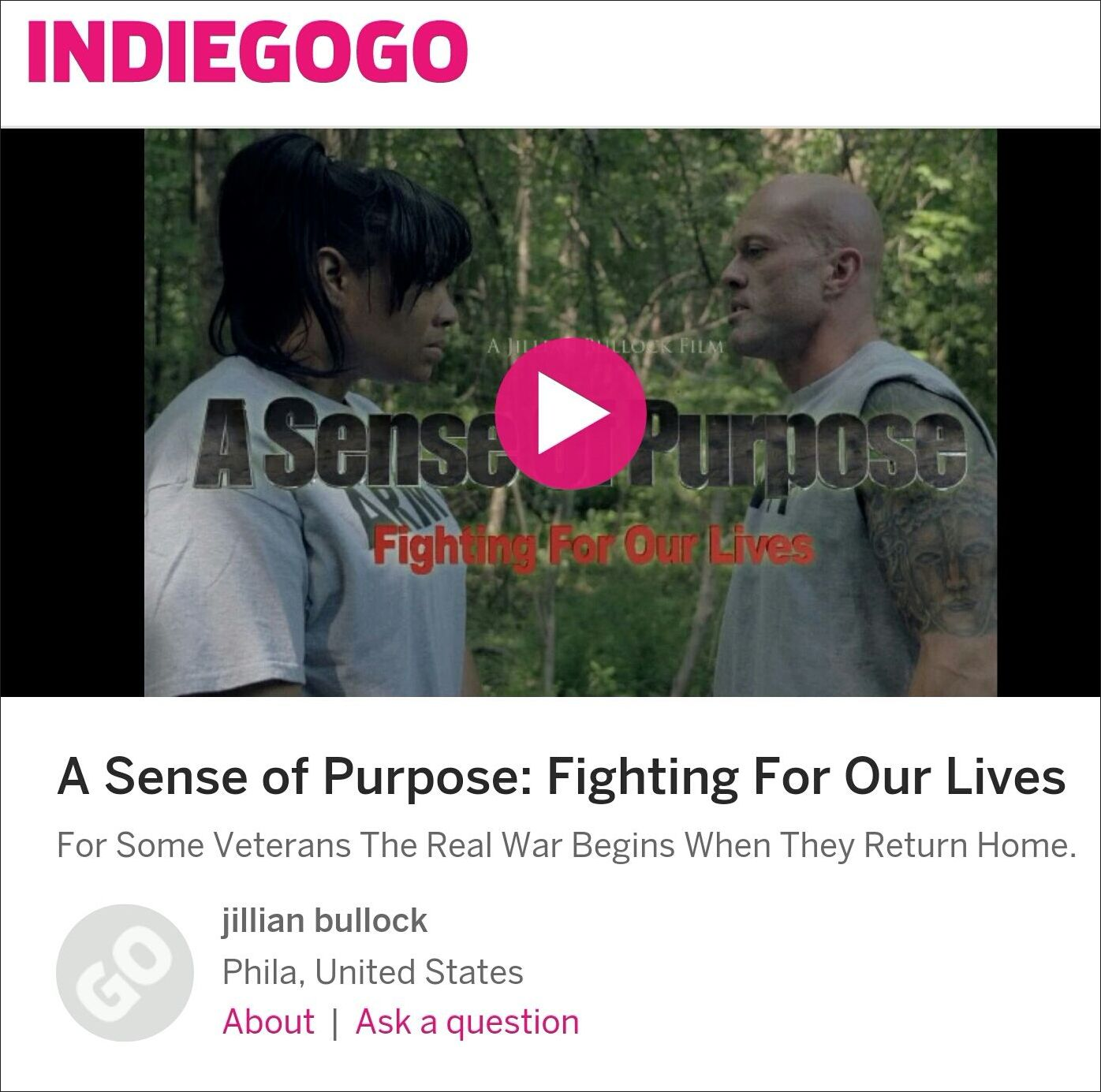 A Sense of Purpose Fighting For Our Lives Trailer John Joseph Quinlan & Tamara Woods #JohnQuinlan