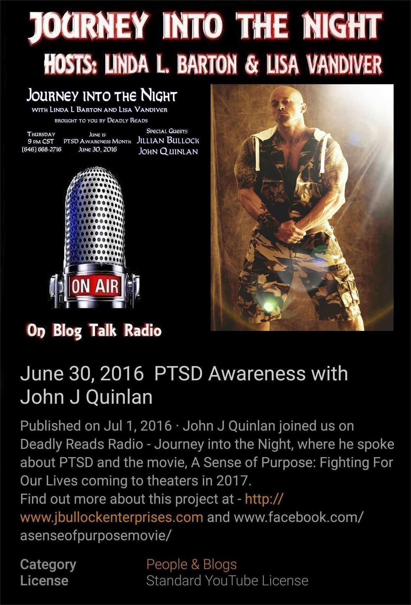Actor John Joseph Quinlan on Deadly Reads Radio via YouTube Interview 6-30-2016 #JohnQuinlan