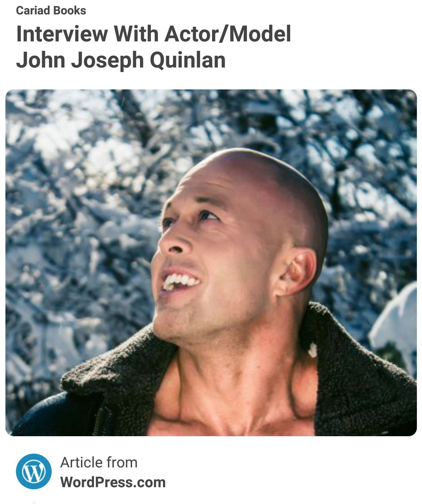 Actor Model John Joseph Quinlan Cariad Books Interview #JohnQuinlan