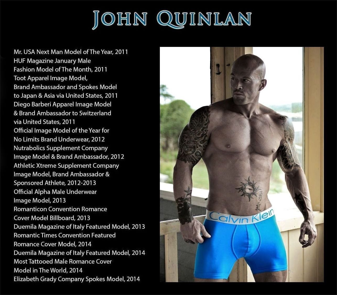 Celebrity Romance Cover Model & Actor John Joseph Quinlan in Calvin Klein #JohnQuinlan