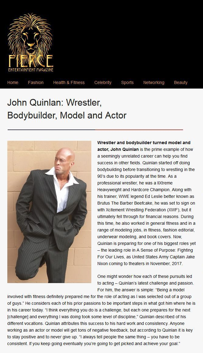 Model & Actor John Joseph Quinlan Fierce Entertainment Magazine Interview #JohnQuinlan