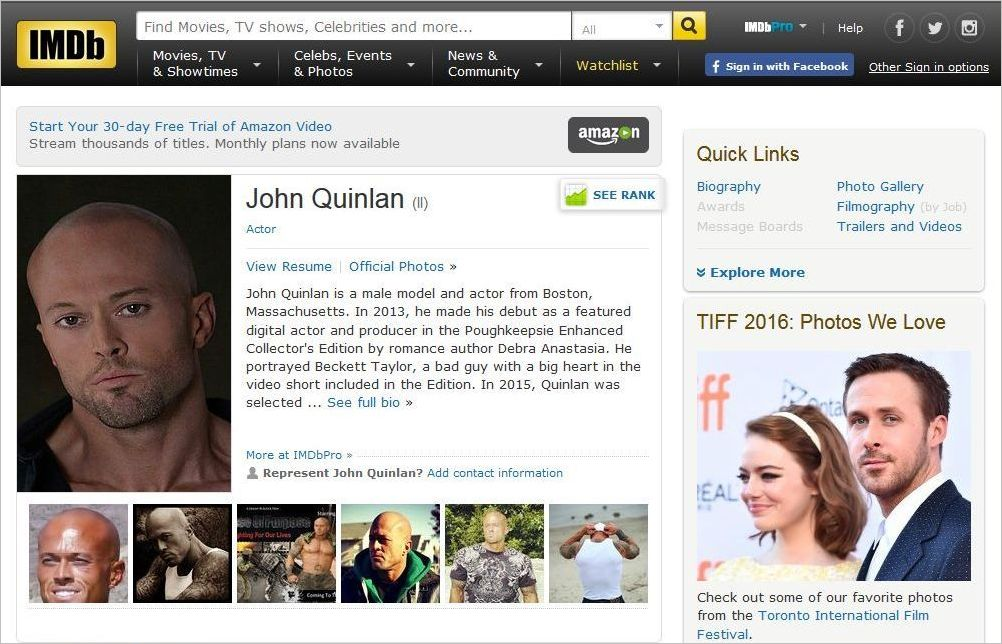 Model & Actor John Joseph Quinlan Internet Movie Database 2016 #JohnQuinlan