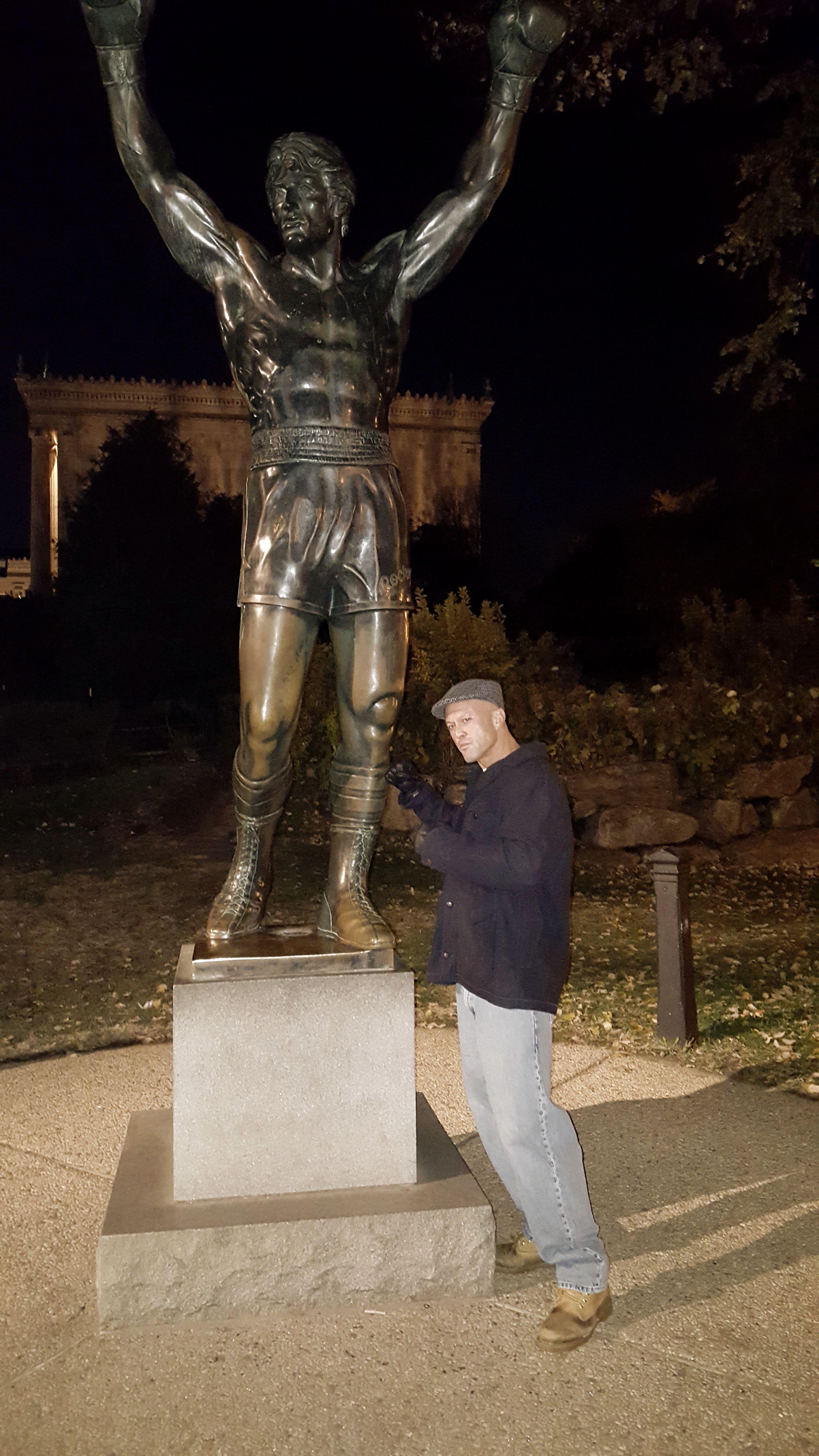 Model & Actor John Joseph Quinlan @ Sylvester Stallone Famous Rocky Balboa Statue #JohnQuinlan