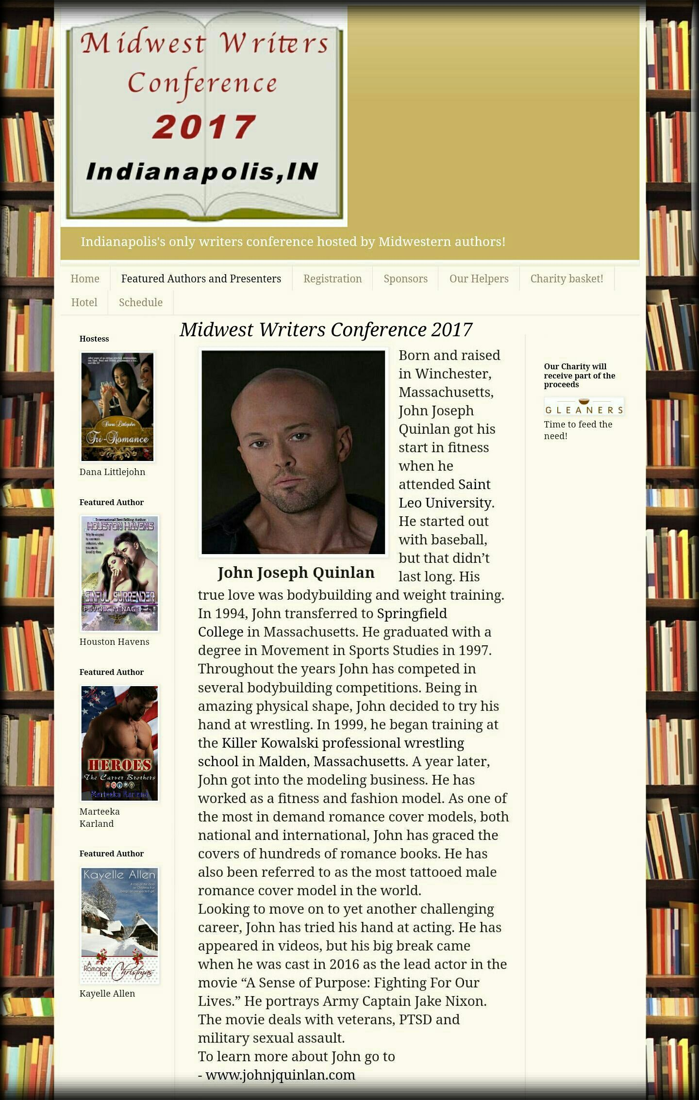2017 Midwest Writers Conference Featured Model & Actor John Joseph Quinlan #JohnQuinlan