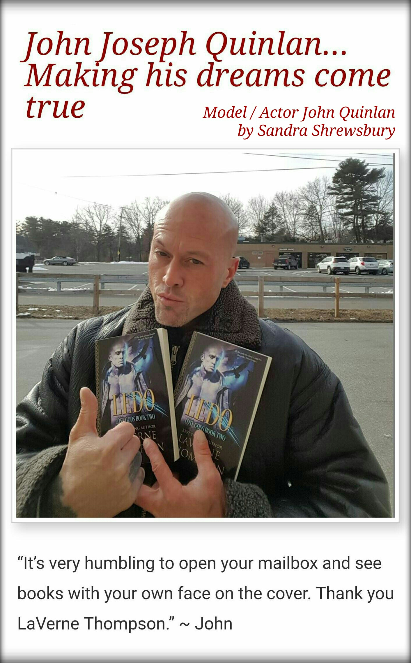 Celebrity Book Cover Model & Actor John Joseph Quinlan by Sandra Shrewsbury #JohnQuinlan