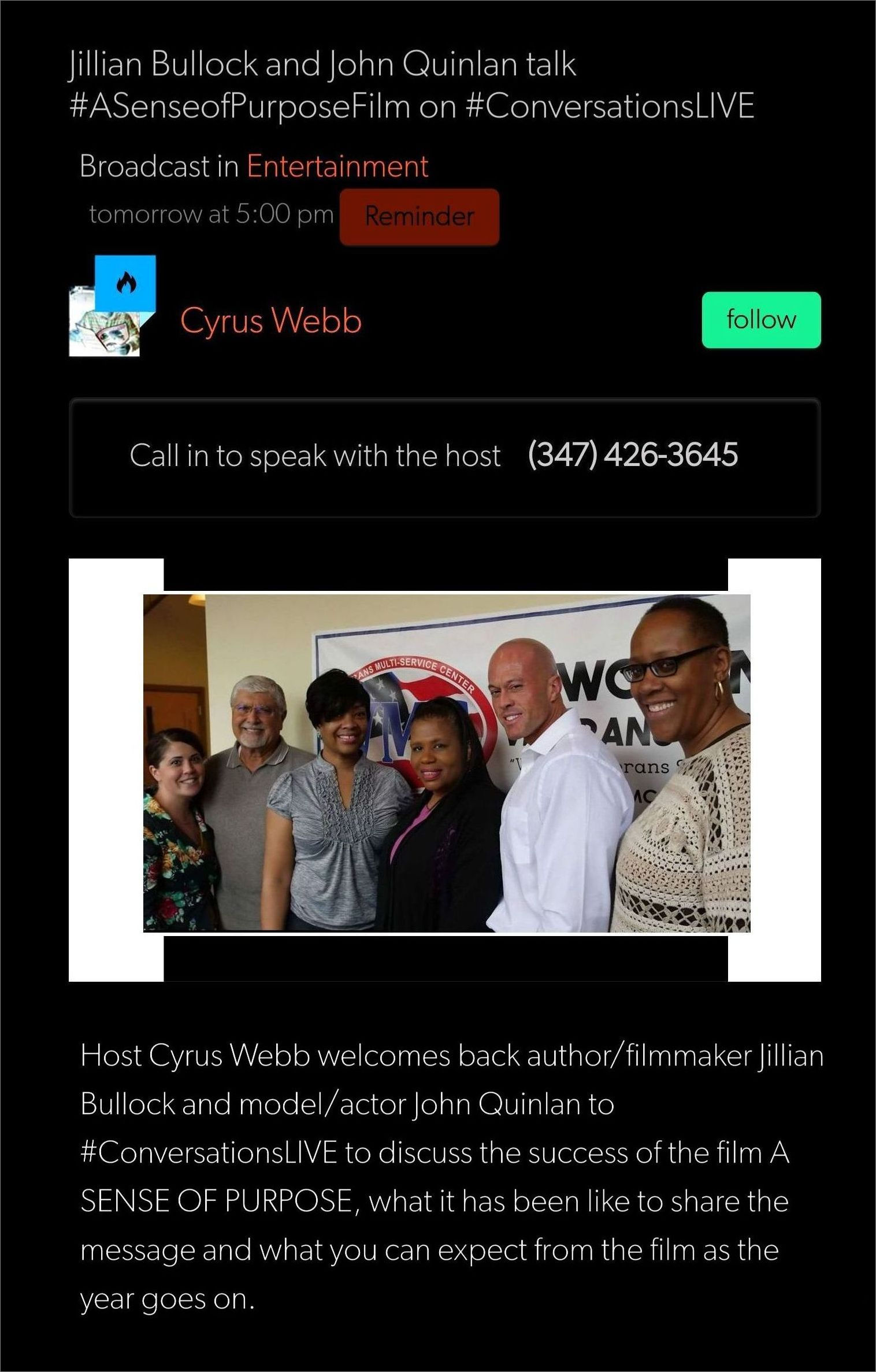 Model & Actor John Quinlan & Director Jillian Bullock with Cyrus Webb Conversations Live #JohnQuinlan