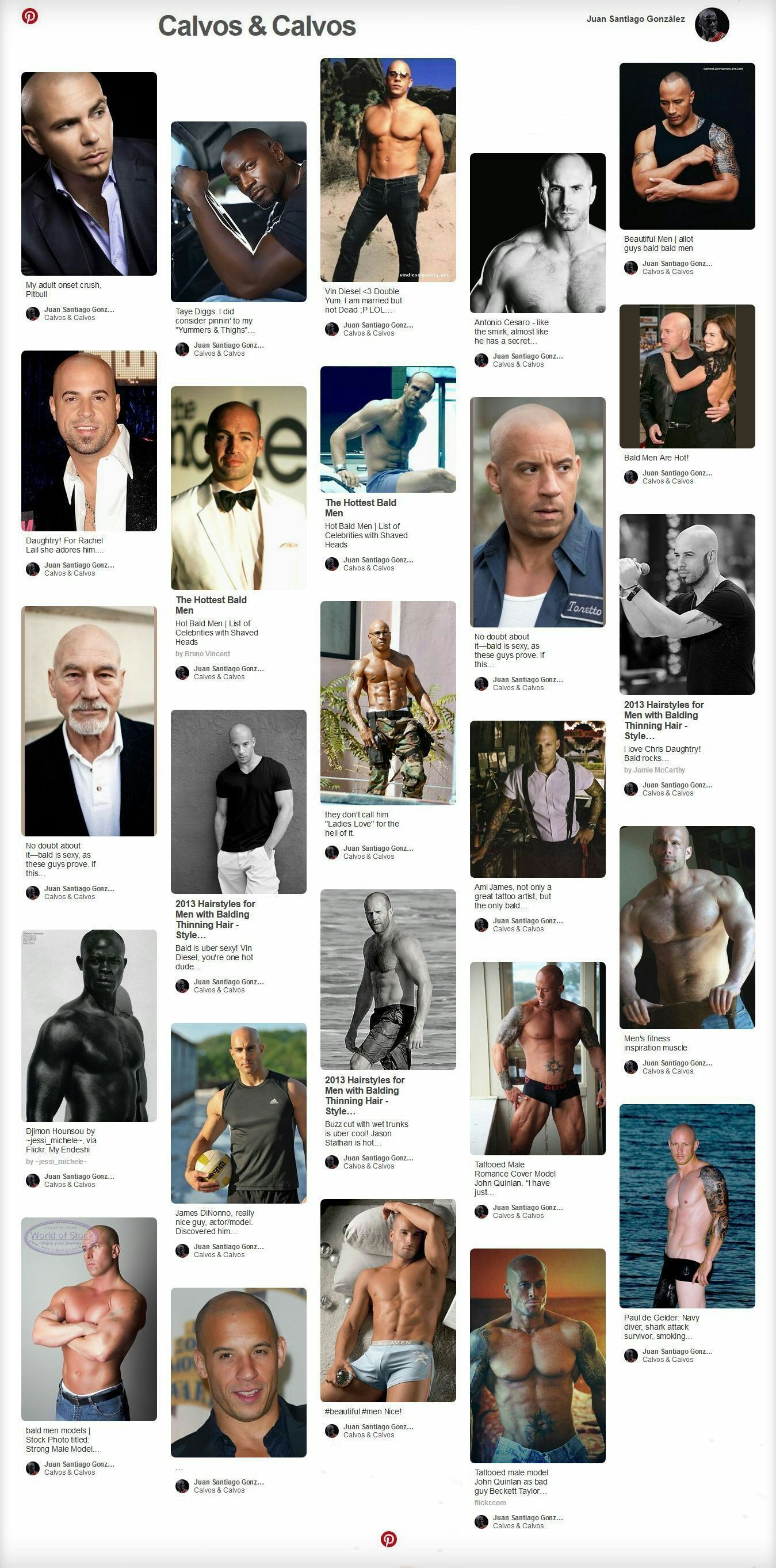 Pinterest Sexy Celebrity Bald Men Dwayne Johnson Ami James John Quinlan Taye Diggs #JohnQuinlan