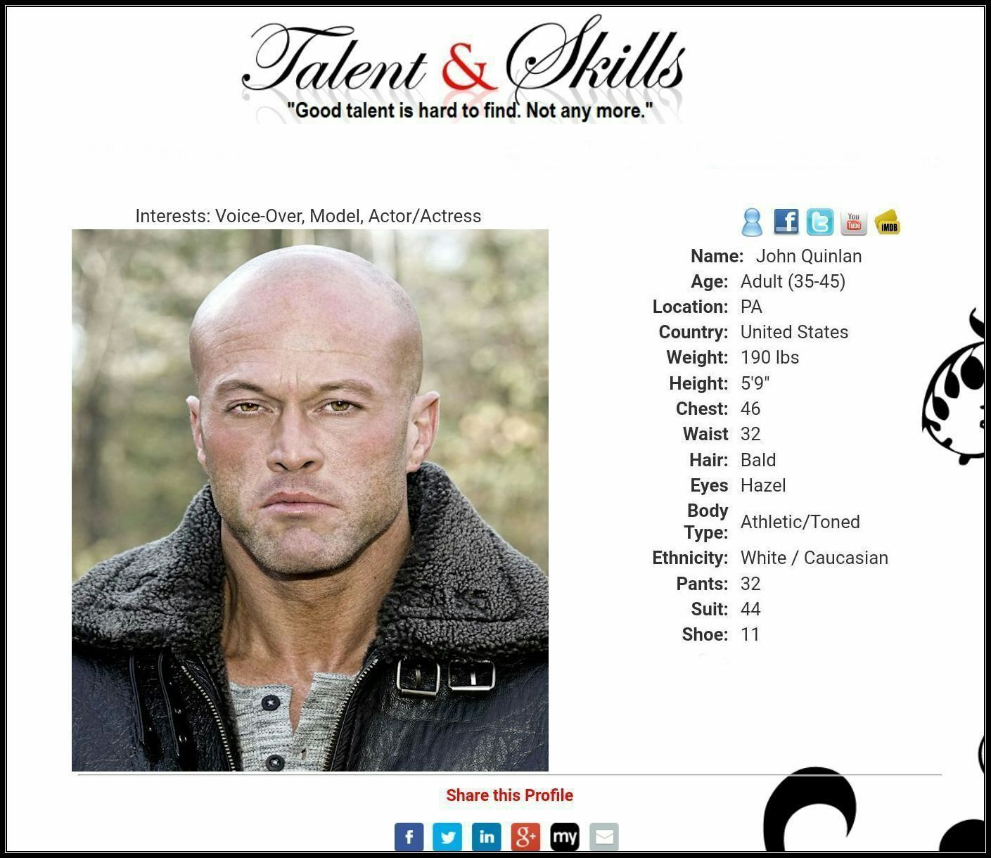 Model Actor John Quinlan Talent & Skills Profile #JohnQuinlan